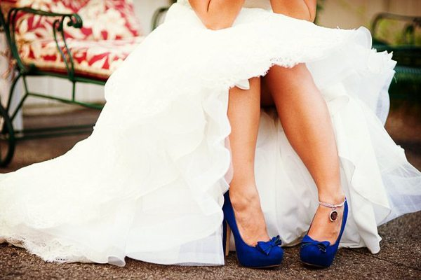 Algo azul zapatos de novia