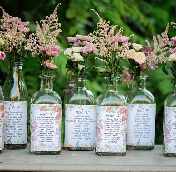 Seating plan botellas y flores